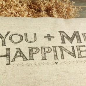 Cojín con mensaje You Me Happiness