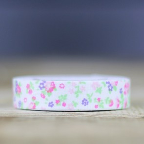 Fabric tape blanco con flores
