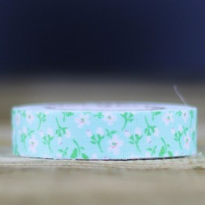 Fabric tape flores verde mint