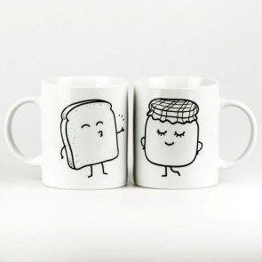 Mr Wonderful Set de 2 tazas Tostada y mermelada MOLA MAS