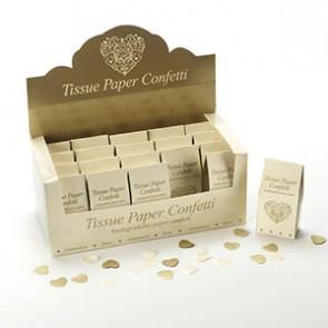 Confetti papel tissue dorado blanco