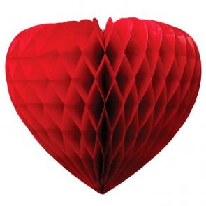 Honeycomb - Corazón de nido de abeja rojo 40 cm alto