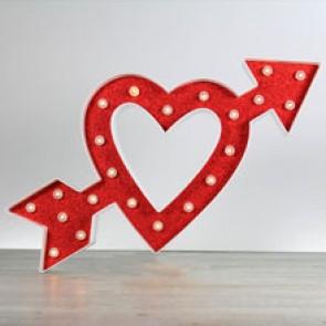 Corazón luminoso con flecha