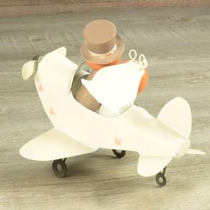 Figura tarta Novios en avión