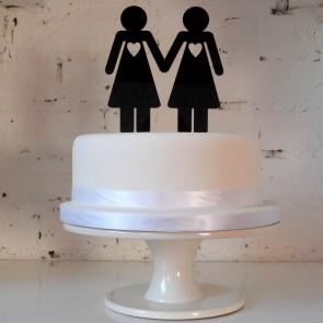 Ellas, decoración de pastel de boda para parejas de chicas realizado en metacrilato y de estilo minimal