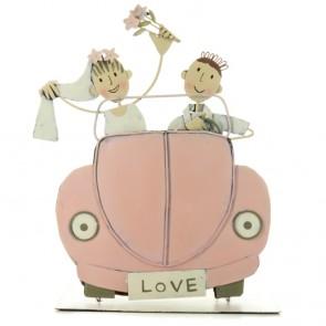Figura de pastel novios en coche
