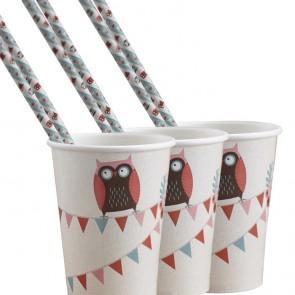 Vasos de papel con buhos (8 uds.)