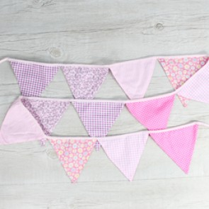 Guirnalda tela estampados rosa
