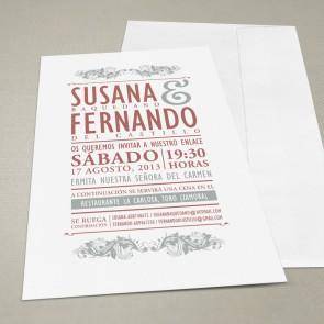 Invitación de boda Vintage (con sobre)