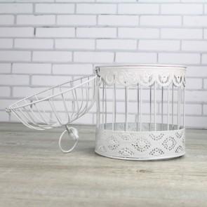 Jaula decoración blanca con pajarito