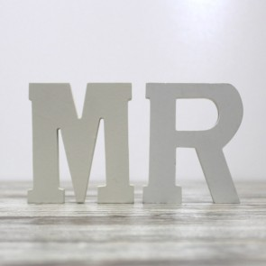 Letras Mr Mrs madera blanca