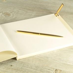 Libro de firmas marfil y dorado con bolígrafo