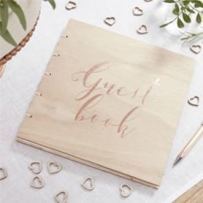 Libro de firmas de madera rustico