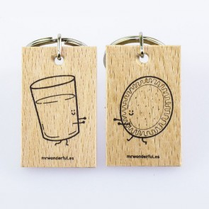"Mr Wonderful Llaveros ""Vaso de leche y galleta"""