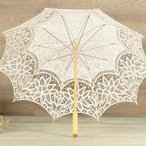 Parasol de novia blanco