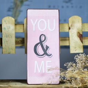 Placa de metal you and Me en rosa palo