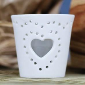 Portavela cerámica blanco