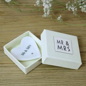 Corazón de cerámica Mr Mrs