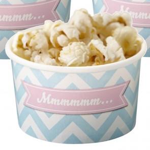 Tarrinas de helado desechables azul celeste chevron (8 uds.)