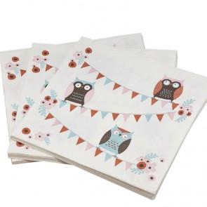 Servilletas de papel con buhos (20 uds.)