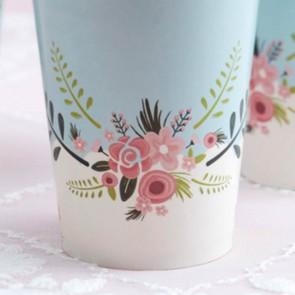 Vasos de papel con flores (8 uds.)