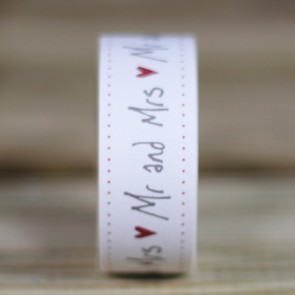 Washi tape Mr Mrs corazones rojos