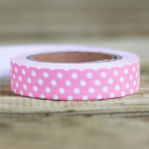 Fabric tape rosa palo con topos blancos