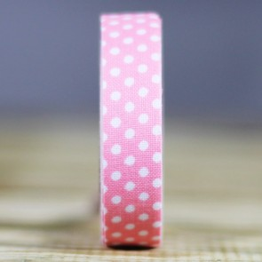 Fabric tape de tela rosa topos blancos