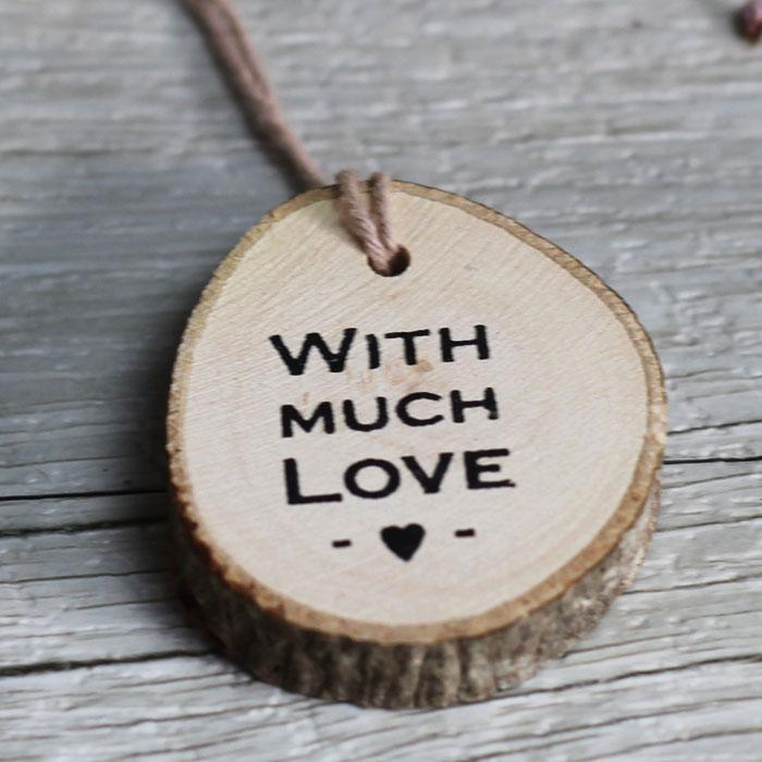 Etiqueta de madera redonda
