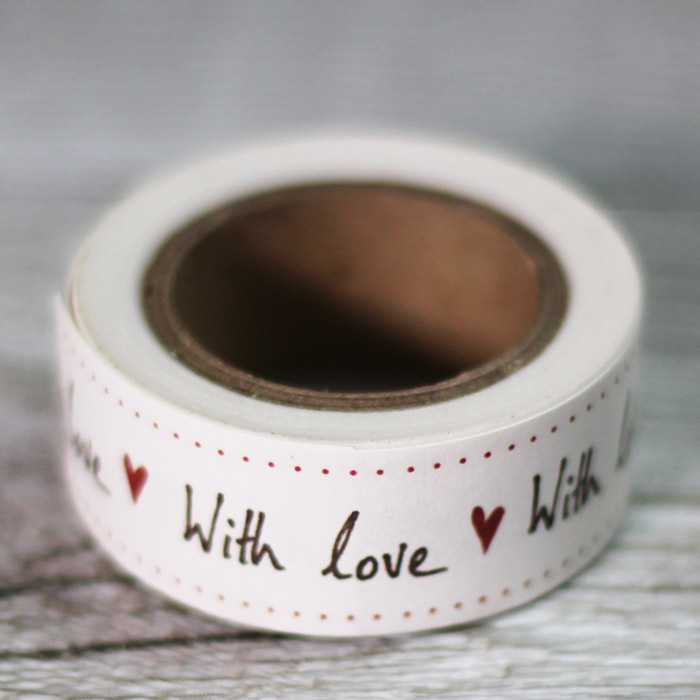 Washi tape beige with love con corazón