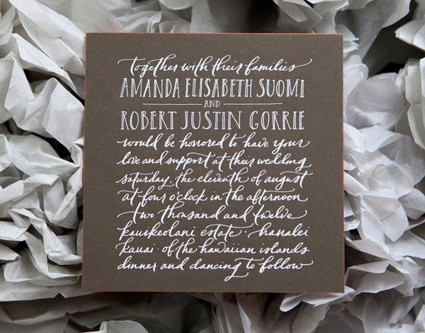 invitaciones de boda con caligrafia blanca